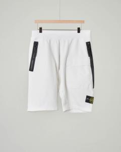 Bermuda bianco in felpa con zip e tasca 10-14 anni