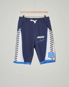 Bermuda blu in felpa con stampa racing