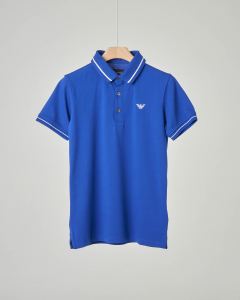Polo blu royal con bordino