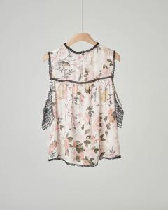 Blusa floreale con maniche con stampa effetto pizzo nero 12-16 anni