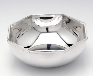 Ciotola placcata argento stile Ottagonale cm.5,5h diam.19