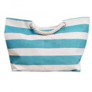 Borsa da spiaggia con manici e tasca interna RIGHE turchese
