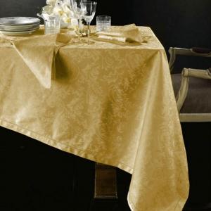 Tovaglia di fiandra PIAZZA PITTI 180x280 12 tovaglioli oro Manuela