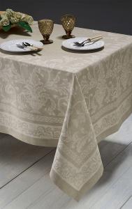 Tovaglia misto lino Maxi PIAZZA PITTI 180x280 12 tovaglioli beige KIRA