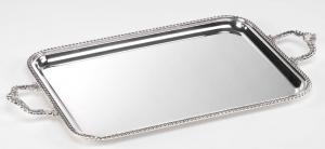 Vassoio rettangolare con manici placcato argento stile Regina Anna cm.37x27