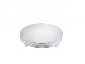 Vassoio sottotorta in metallo placcato argento cm.10,5h diam.58,5