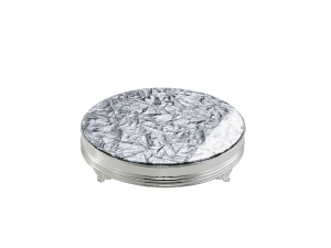 Vassoio porta torta in metallo placcato argento con top in plexiglass cm.11h diam.58,5
