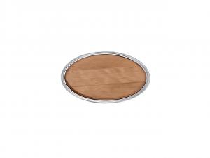 Vassoio ovale argentato con tagliere in legno per formaggi salumi cm.45x35