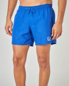 Costume boxer blu royal con logo stampato