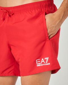 Costume boxer rosso con logo stampato