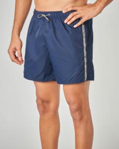 Costume boxer blu con bande logate