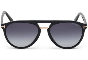 Tom Ford - Occhiale da Sole Uomo, BURTON, Shiny Black/Gradient Blue FT0697 (01W)  C56
