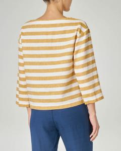 Blusa in viscosa misto lino a righe bianche e gialle con maniche tre quarti