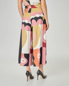 Pantaloni culotte LW x ART. 365 in crêpe a fantasia grafica multicolor