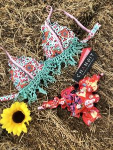 Bikini triangolo con frange e slip fianco Multiflower Changit Taglia M