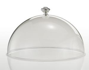 Campana cloche coprivivande in policarbonato con pomello argentato argento sheffield cm.16h diam.26