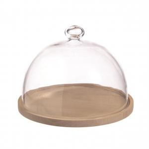 Campana cupola in vetro con piatto in legno MDF cm.20,5h diam.28