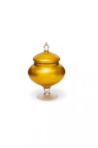 Potiche scatola porta caramelle e confetti in vetro oro cm.27h diam.16,5