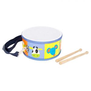 Tamburo colorato animali in legno strumento musicale bambini