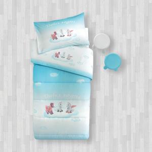 Completo lenzuola 1 piazza GABEL TRUDI Pony azzurro stampa digitale