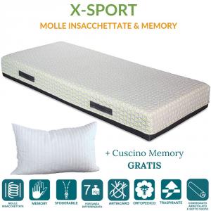 Matelas en mousse à mémoire de forme et ressorts ensachés indépendants de 22 cm de haut + oreillers lit gratuit Revêtement hypoallergénique Déhoussable et lavable Orthopédique régénérant Idéal pour les sportifs + 2 Coussins GRATIS X-sport