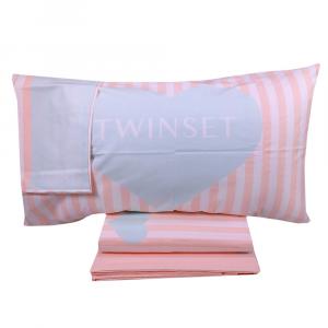 Double duvet cover set 2 squares TWINSET Mon Amour pink and light blue