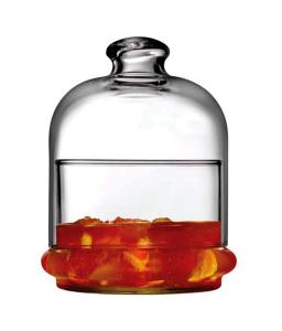 Scatola porta confetti caramelle con cupola e piattino in vetro cl 22 cm.10h diam.9