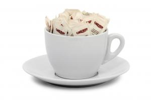 Tazza grande, porta bustine da zucchero, in ceramica bianca, con vassoio, Lt 1,5 cm.12h diam.16