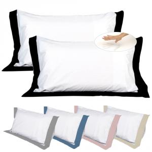 Paire de Coussins 100% Mousse Mémoire de forme, avec 4 Taie élégant GRATUIT en Coton Blanc Doux + Volant Noir, 2 Oreillers Anti-douleur CERVICALS en Mousse Ergonomique
