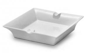 Posacenere quadrato in porcellana bianca cm.20x20x2,5h