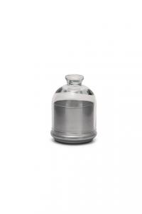 Scatola in vetro, con coperchio, base colore argento cm.12,5h diam.10