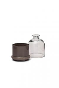 Scatola in vetro, con coperchio, base colore Beige cm.12,5h diam.10