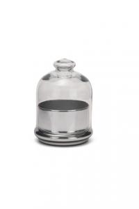 Scatola bomboniera in vetro, con coperchio, base colore argento a specchio cm.15h diam.12