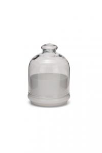 Scatola bomboniera in vetro, con coperchio, base colore bianco cm.15h diam.12