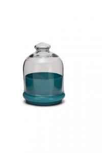Scatola bomboniera in vetro, con coperchio, base colore celeste pastello cm.15h diam.12