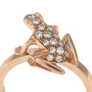 Anello Kissing Frog in oro rosa e diamanti
