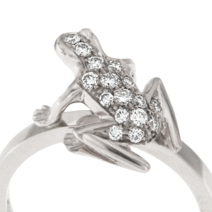 Anello Kissing Frog in oro bianco e diamanti