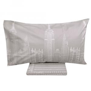 Bettbezug und Einzelkissenbezug 1 Quadrat VALLESUSA SKYLINE grau