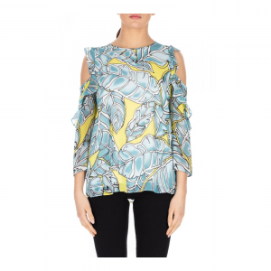 BLUSA OFF SHOULDER STAMPA FOGLIE