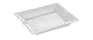 Posacenere rettangolare in porcellana bianca cm.18x15,5x3,5h