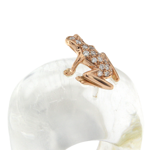 Anello Happy Frog in pietra, oro rosa e diamanti