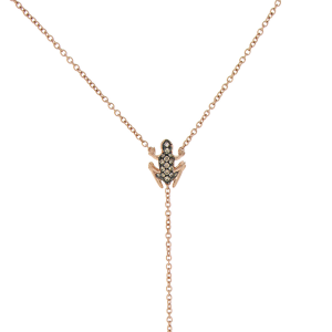 Collana Y-shape in oro rosa e diamanti brown