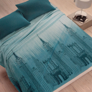 Square cotton bedcover VALLESUSA SKYLINE turquoise