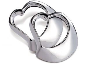 Portatovagliolo cuore silver plated set da 2 pz cm.2h diam.9