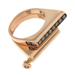 Composizione anelli in oro rosa e diamanti brown