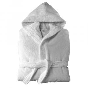 Accappatoio spugna con cappuccio in Spugna Happidea UNISEX - S/M bianco