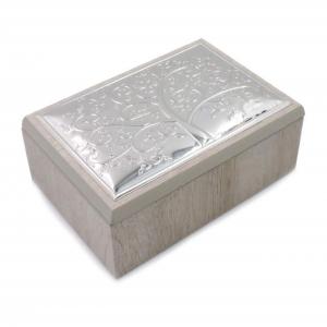 Cofanetto portagioie con coperchio in Argento Albero della vita cm.13x9x5h