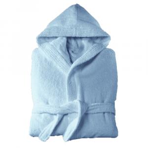 Accappatoio con cappuccio in Spugna Happidea UNISEX - S/M azzurro