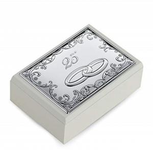 Cofanetto portagioie 25esimo rettangolare con copechio in Argento Decorato cm.16x11,5x5h
