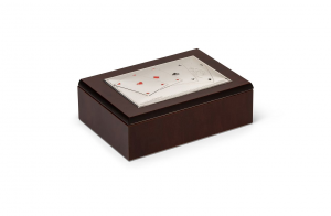 Cofanetto porta carte da gioco e dadi con coperchio in Argento cm.16x11x5,5h